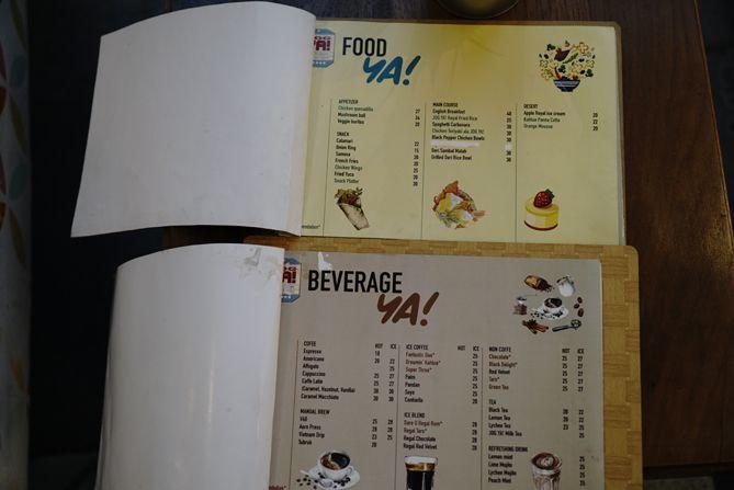 Daftar menu dan harga kedai kopi Jogya by Kepomo