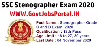 SSC Stenographer Exam 2020  Govt Jobs in India for Stenographers