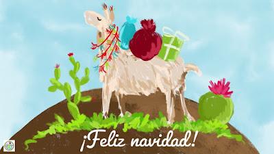 Feliz navidad llama E Card in Spanish