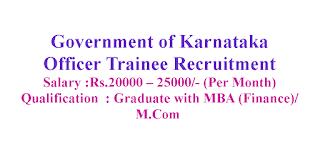 Officer Trainee Recruitment - Government of Karnataka