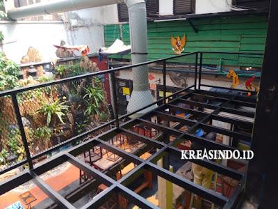 Penampakan Rangka Mezzanine Kafe pesanan Bu Monica di Menteng Jakarta