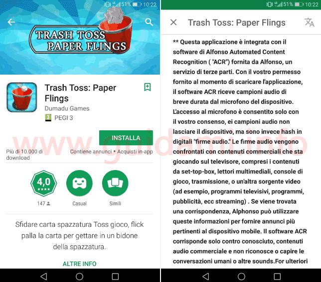 Descrizione app Android uso di Alphonso ACR