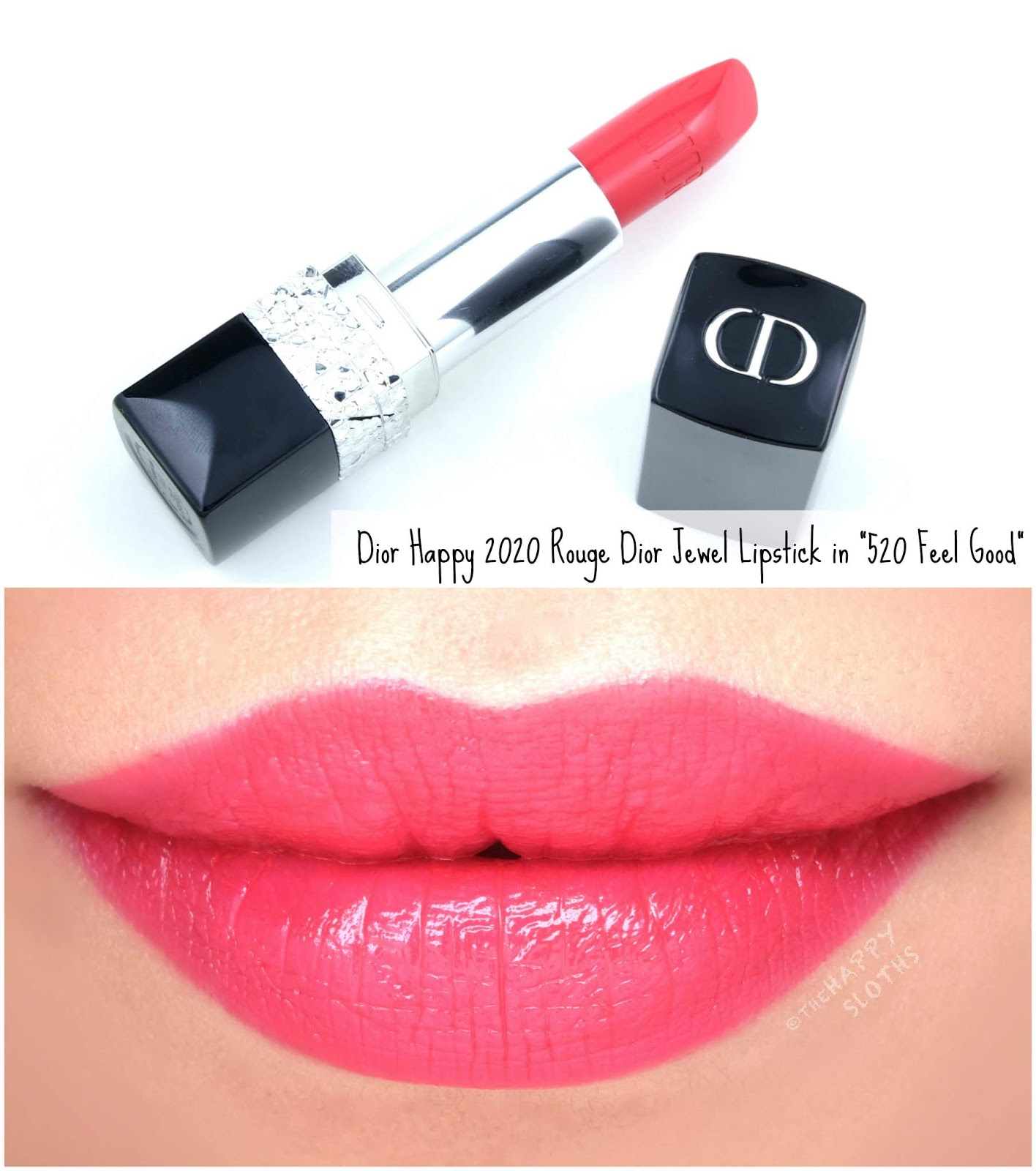 "Dior | Happy 2020 Holiday Collection Rouge Dior Jewel Lipstick in ""520 Feel Good"": Review and Swatches"