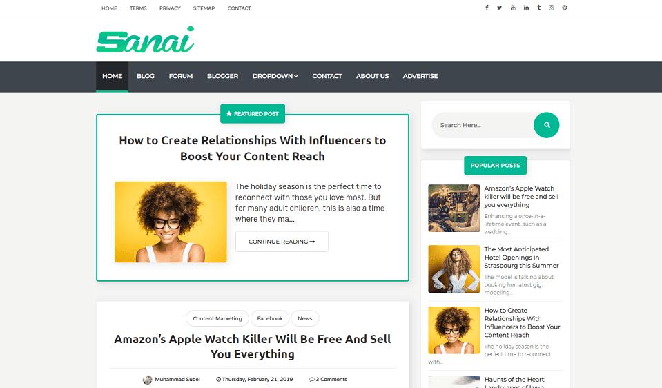 Sanai Professional Responsive Blogger Template