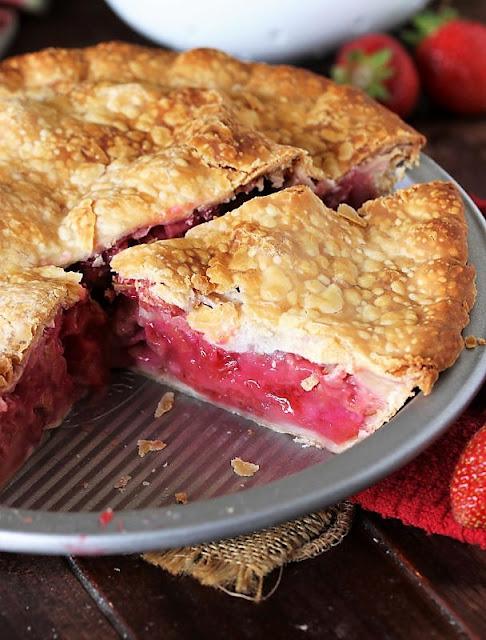 Filling Inside Strawberry Rhubarb Pie Image