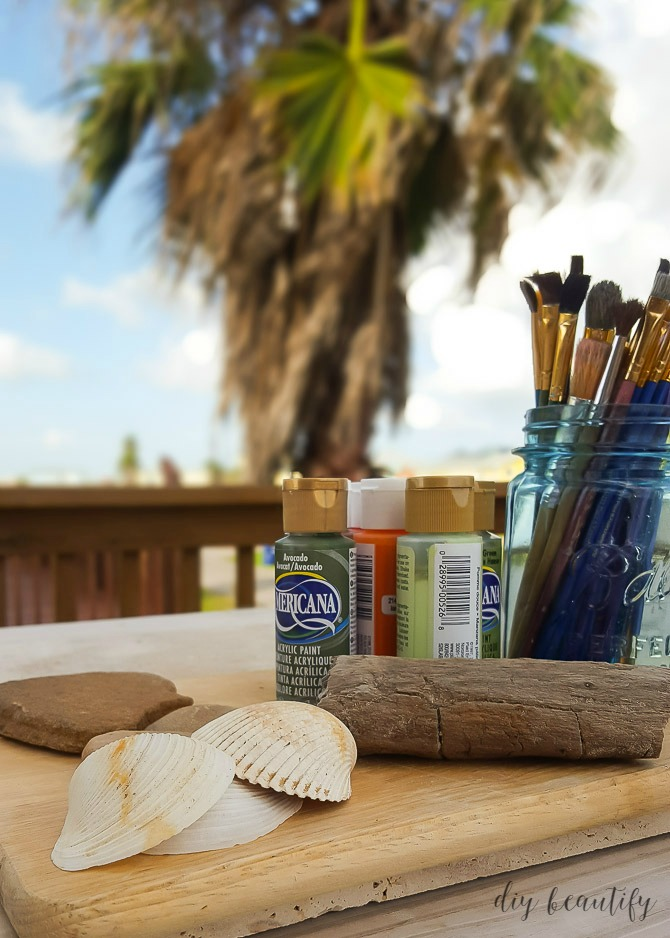 supplies for painting rocks, shells and driftwood