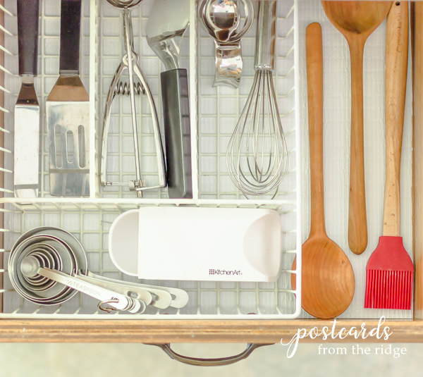 kitchen drawer with baking gadgets in wire tray on Duck Brand Smooth Top EasyLiner
