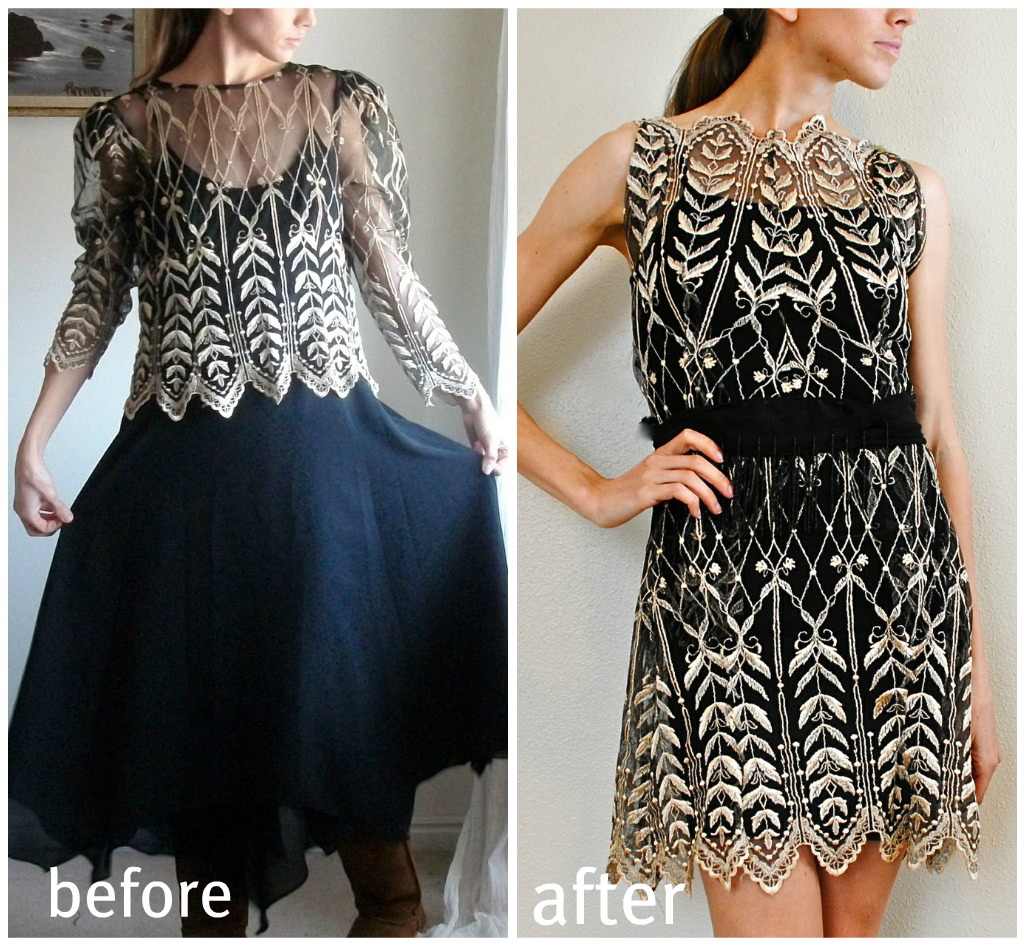 Trash To Couture: 80's Dress Sewn Lace Cocktail.