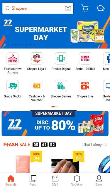Halaman depan aplikasi Shopee