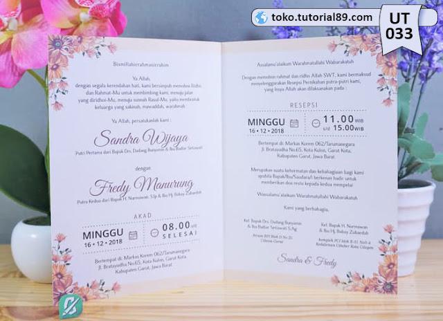 Undangan pernikahan UT033 - Seimpel Lipat 2 +free kartu ucapan terima kasih