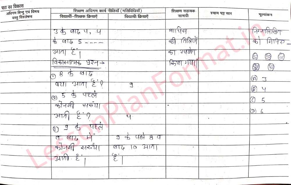 Deled Primary Class Maths Lesson Plan in Hindi