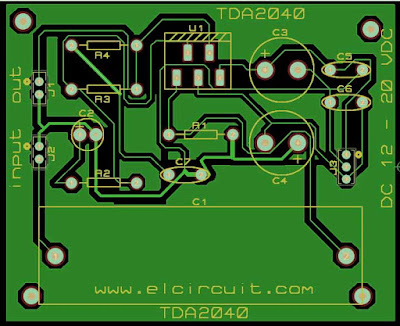 Layout TDA2040 TDA2030 TDA2050 power amplfieri circuit