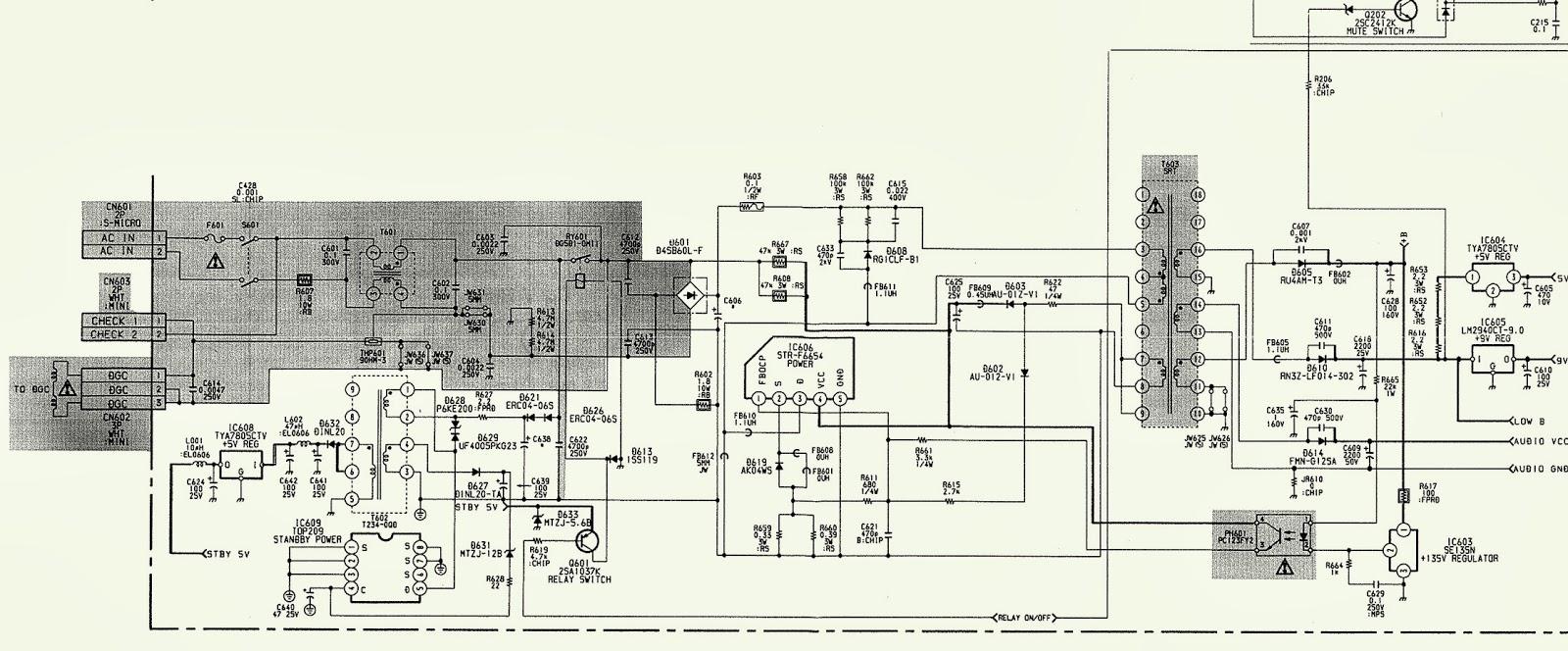SONY TRINITRON  KV 25R**  COLOR TV  SCHEMATIC  POWER