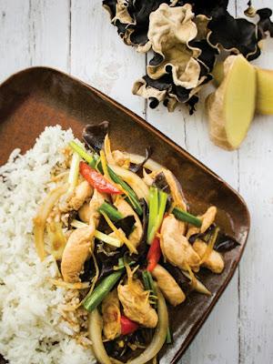 Chicken Stir-Fry with Ginger & Mushrooms (Thai Food)
