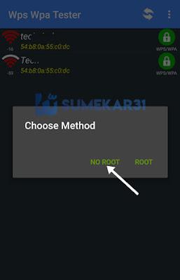 Pilih opsi 'Tanpa Root' WPS WPA Tester