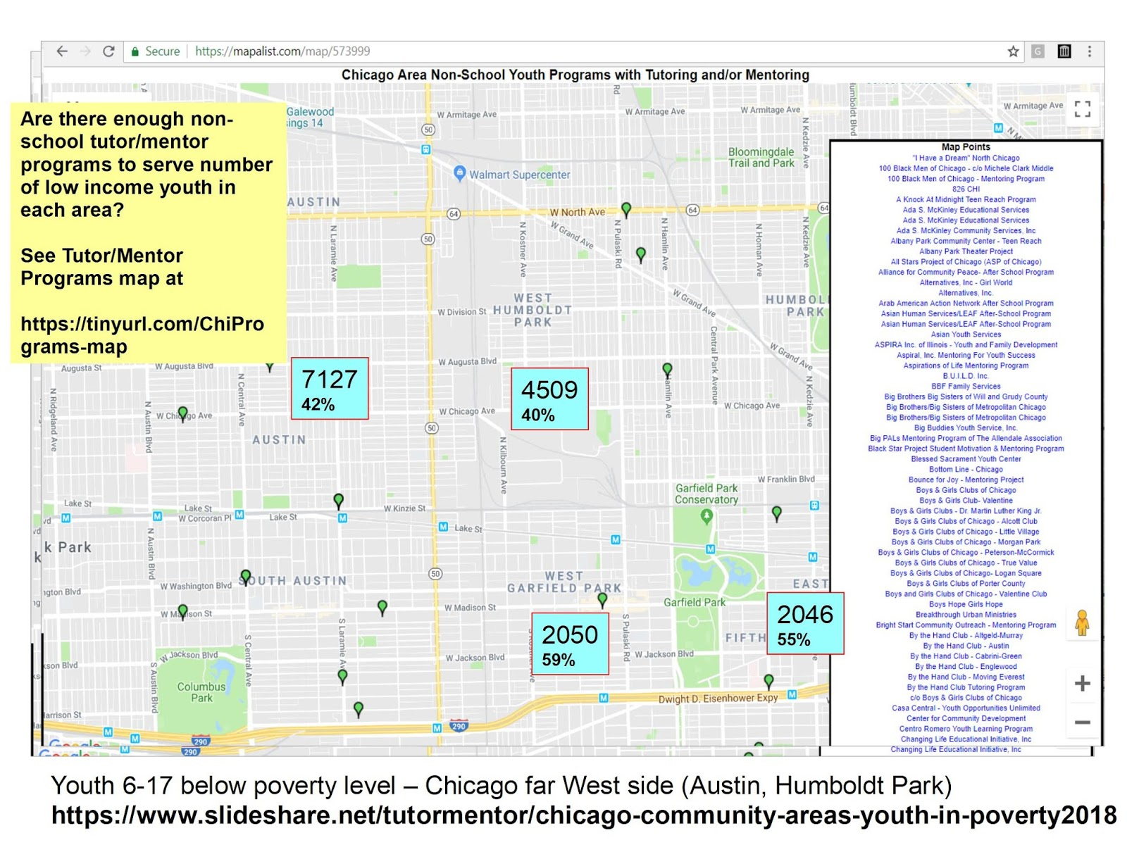 below is another map created using the map of chicago tutor mentor programs that i host in this map i m also showing the austin area along with humboldt