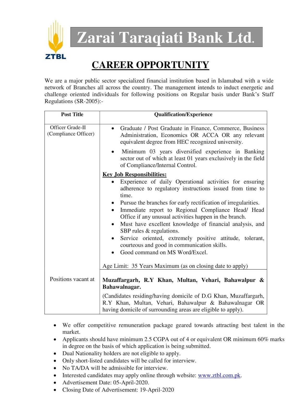ZTBL Jobs,Jobs in ZTBL 2020 Zarai Taraqiati Bank for Officer Grade