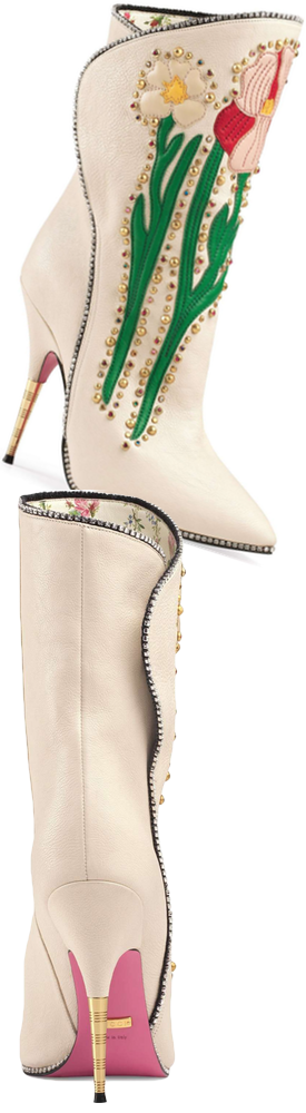 Gucci Fosca Floral Embellished Pointy Toe Boot