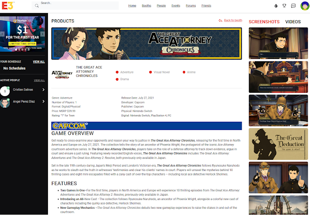 CAPCOM Virtual Booth E3 2021 portal The Great Ace Attorney Chronicles