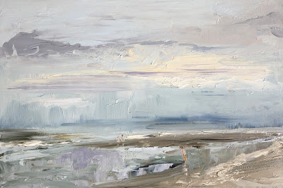 """First swim of the year"", plein air beach painting by Philine van der Vegte"