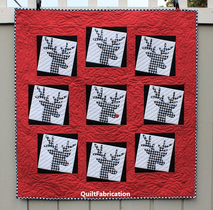 REINDEER QUILT-CHRISTMAS-SANTA-RUDOLPH-RED NOSE-APPLIQUE