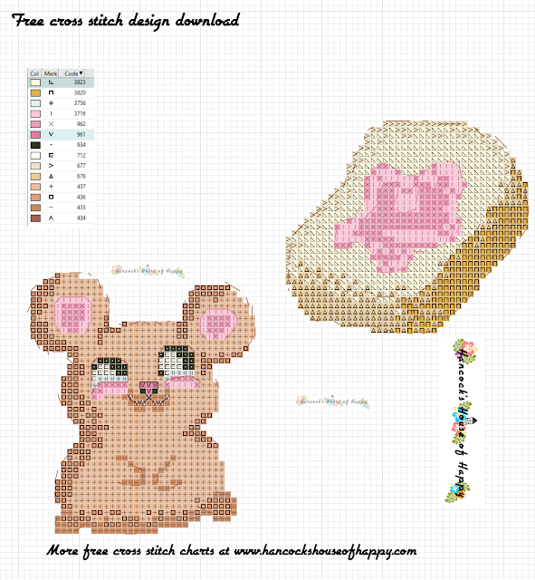 Free Kawaii Mouse Cross Stitch Pattern. Cute Hungry Mouse Cross Stitch.