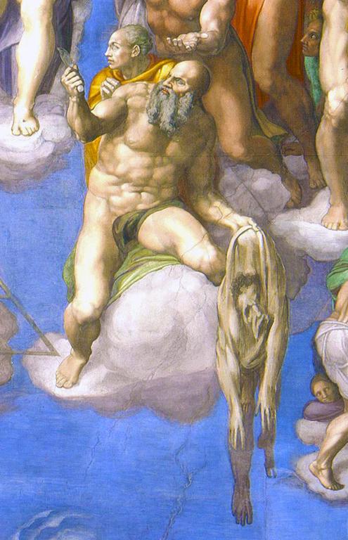 Capilla Sixtina de Miguel Ángel (Detalle del Juicio Final San Bartolomé y Pietro Aretino)