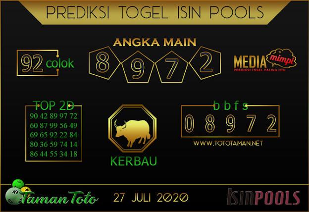 Prediksi Togel ISIN TAMAN TOTO 27 JULI 2020