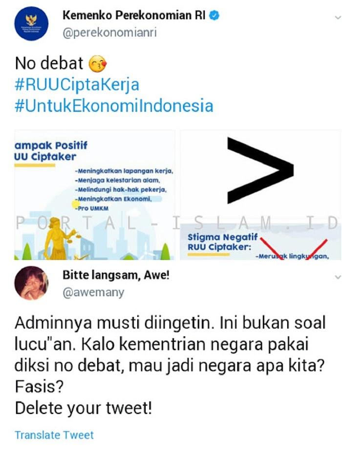"WADUH! Bahas Omnibus Law, Akun Resmi Kemenko Perekonomian Pasang Caprion ""No Debat"", Awemany: Fasis?"