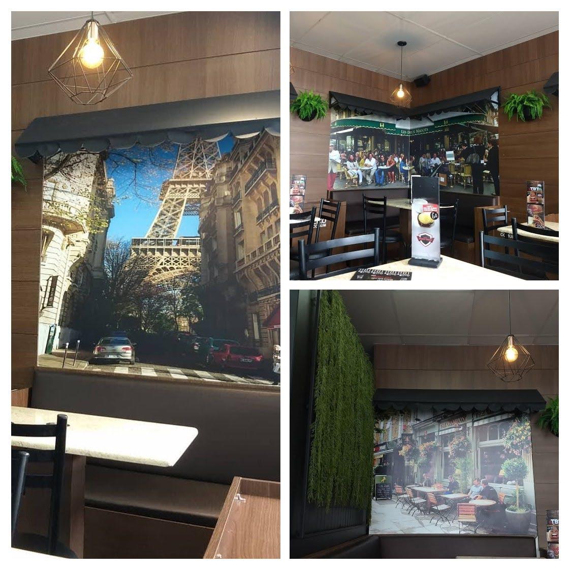 """imagem da fotos que tem no interior do café Montreal, anexo ao posto em Joinville/SC. São fotos ampliadas de lugares """"ícones"""" da França"""
