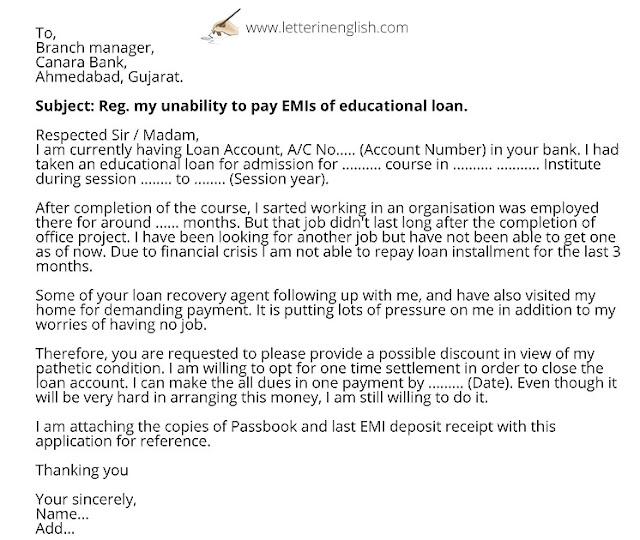 Letter for settlement of an educational loan