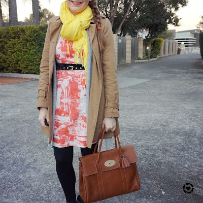 awayfromblue instagram mulberry bayswater bag winter office outfit with orange sheath dress trench coat