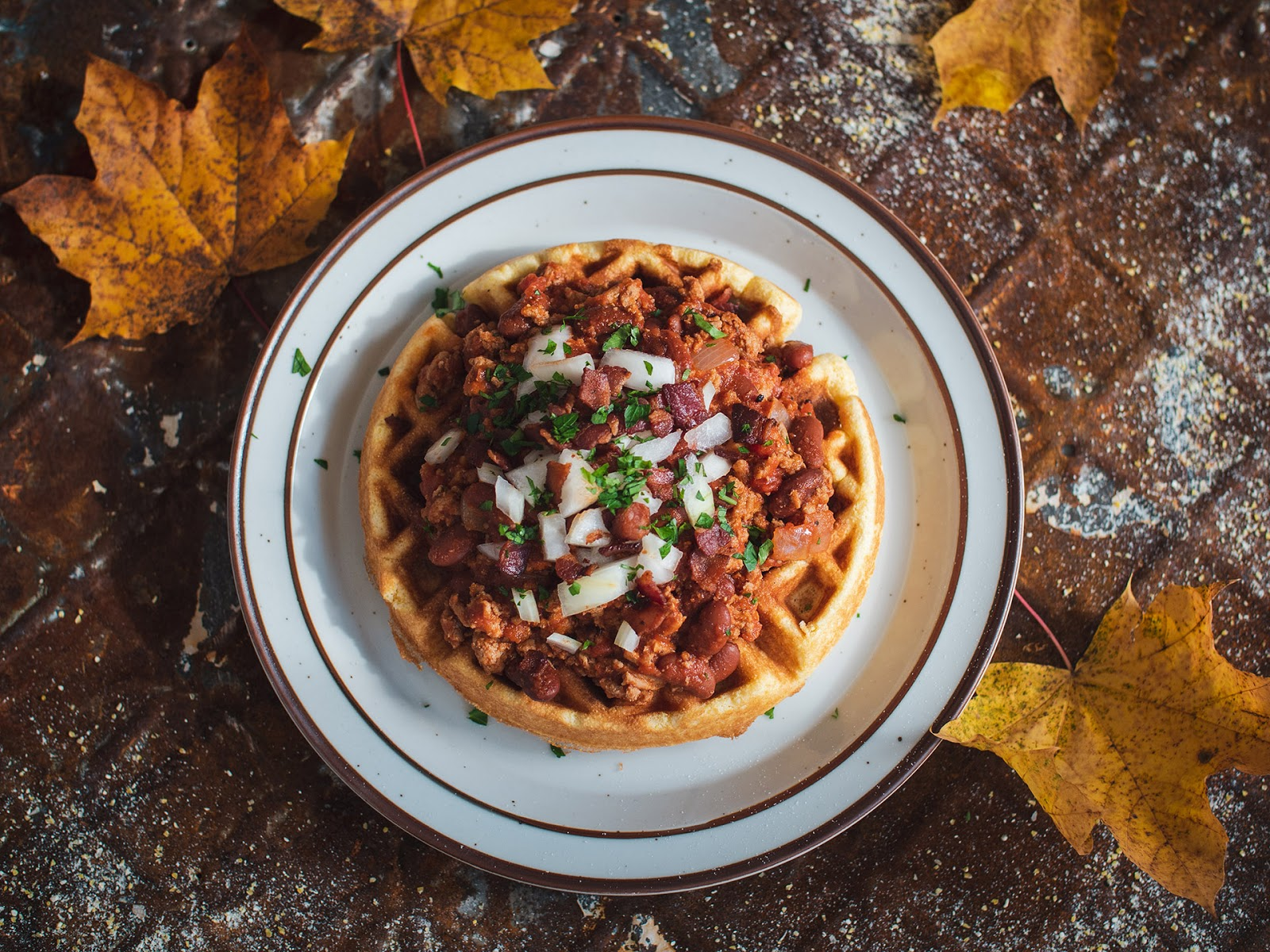 Maple Bacon Bourbon Chili On Cornbread Waffle | Local Food Rocks