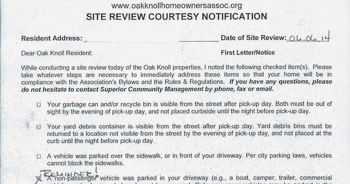 Oak Knoll Homeowners Association Watch Dog - Because Somebody Has To