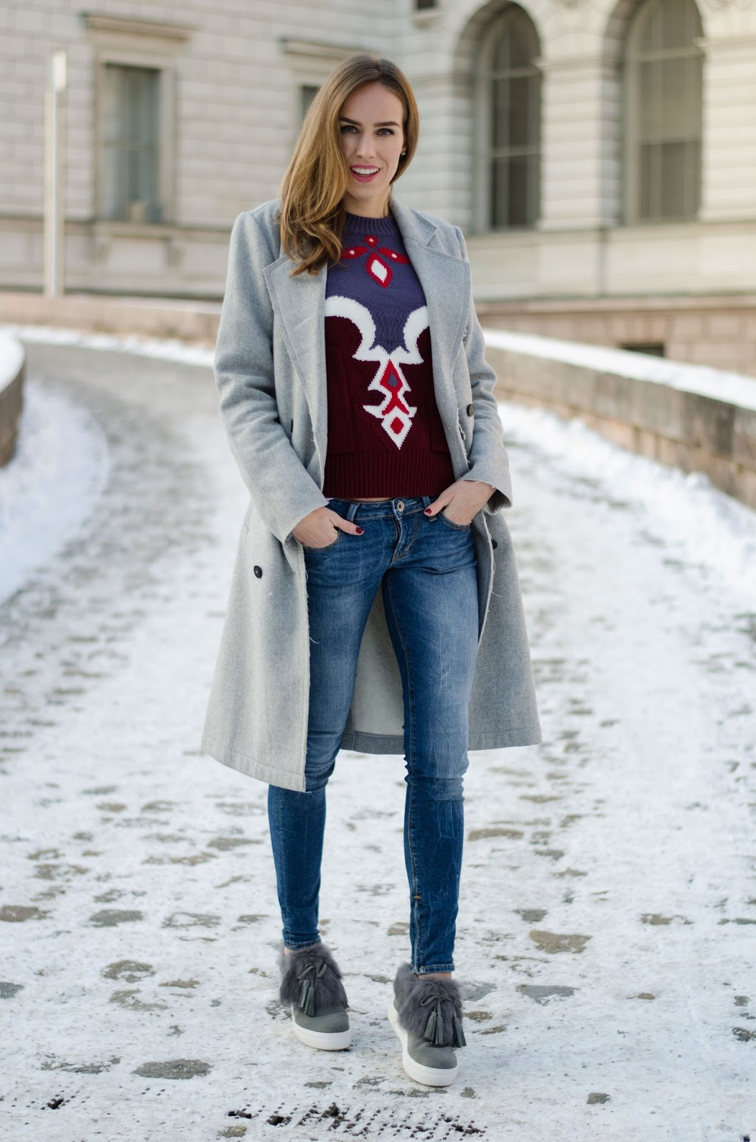 kristjaana mere gray vila coat guess jeans zaful sweater fur sneakers winter look