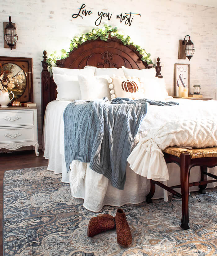 cheetah print accents in Fall master bedroom