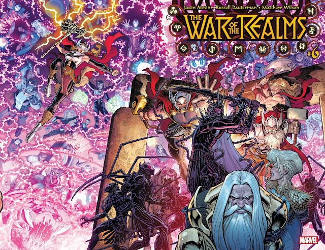 The official poster of Marvel's War of the Realms Issue #6 by writer Jason Aaron and artist Russell Dauterman.