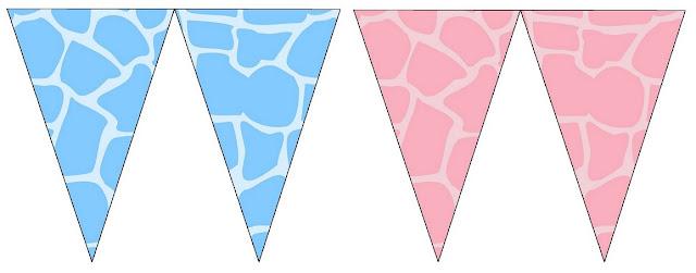 Banderines Piel de Jirafa en Celeste y Rosado para Imprimir Gratis.