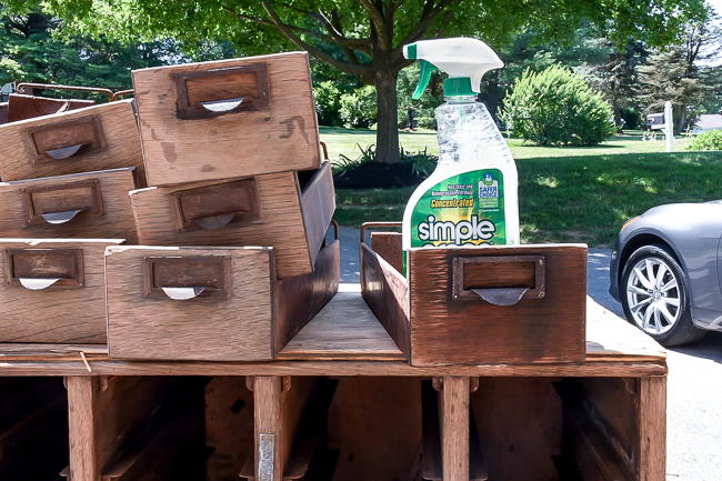 Cleaning wood card catalog with Simple Green