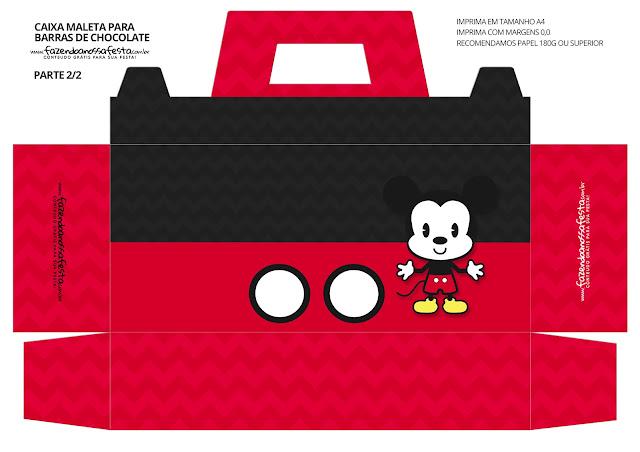 Mickey Chibi Free Printable Suitcase Box.