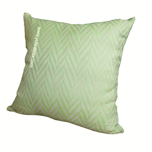 Green Chevron Throw Pillow