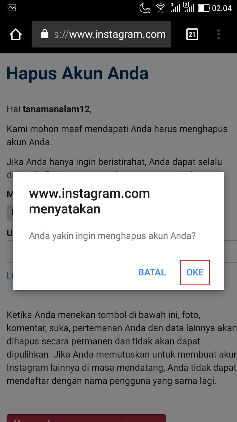 Cara Menghapus Akun Instagram Permanen di HP 3
