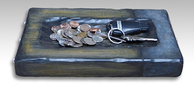 handmade wooden tray to coins, car keys