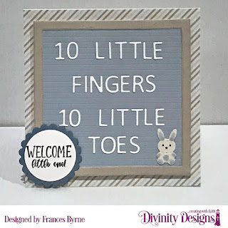 Divinity Designs Stamp Set: Sweet Baby, Custom Dies: Letter Board, Baby Blessings,  Circles, Scalloped Circles, Paper Collection: Baby Boy