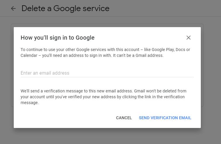 Provide alternative email address