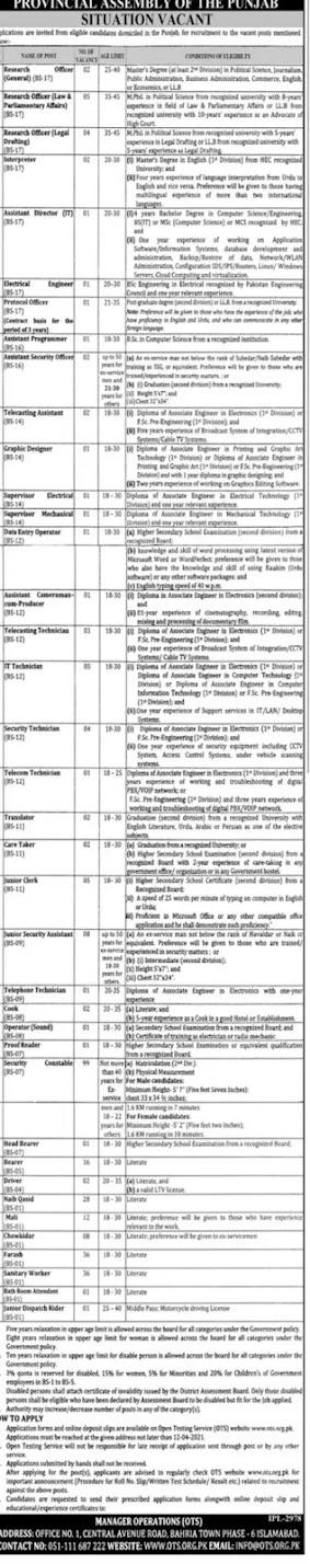 Punjab Assembly jobs 2021 online apply