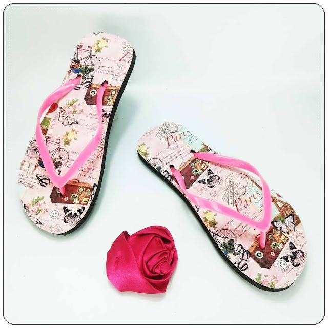 grosirsandalmurah.org - sandal wanita - AMX Motif Bunga Spon