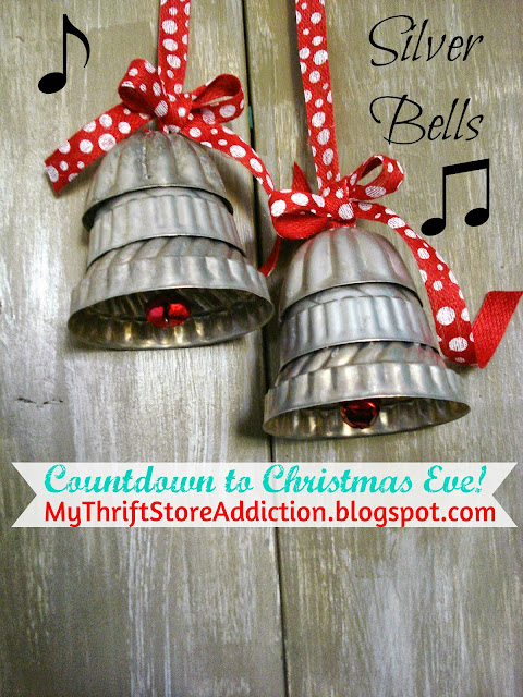 Repurposed mini jello mold silver bells!
