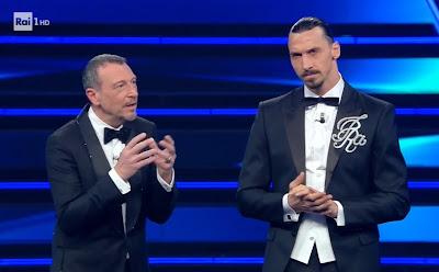 Amadeus Zlatan Ibrahimovic foto festival di Sanremo 2 marzo