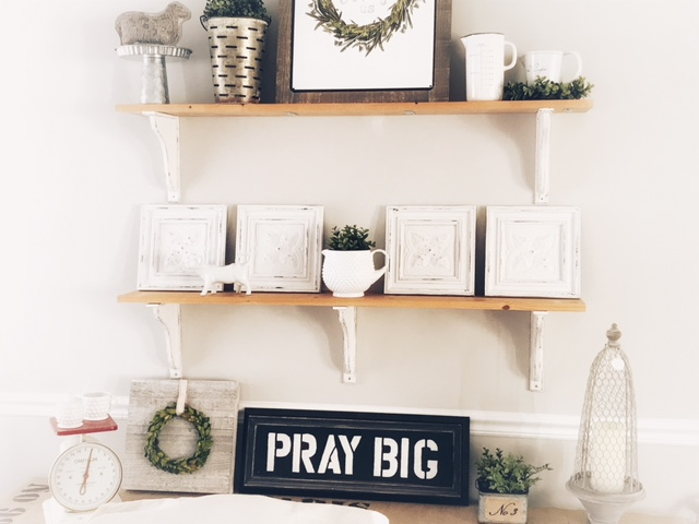 DIY farmhouse shelves pray big sign tin ceiling tiles